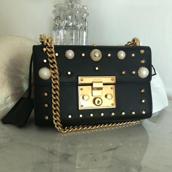 db71ba467328 Gucci Bags | Padlock Black Leather Crossbody With Pearls | Poshmark